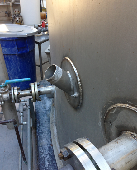 Tap Master, Inc. - 45 degree Hot Tap on 36' 316 S/S Tank